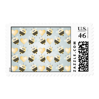 Cute Bees Honey Hearts Postage Stamp