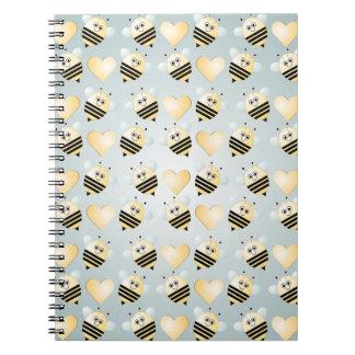 Cute Bees Honey Hearts Spiral Notebook