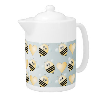 Cute Bees Honey Hearts Teapot