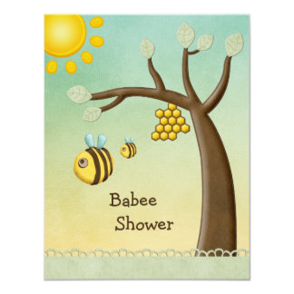 Cute Bees, Tree & Hive Babee Shower 4.25x5.5 Paper Invitation Card
