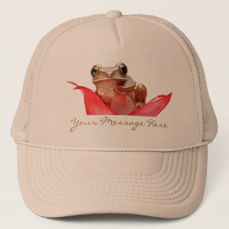 Cute Beige Brown Marbled Reed Frog Your Message Trucker Hat