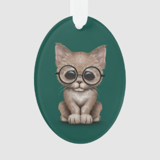 Cute Beige Kitten Cat with Eye Glasses teal Ornament