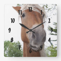 Cute Belgian Draft Horse Face Animal Square Wall Clock