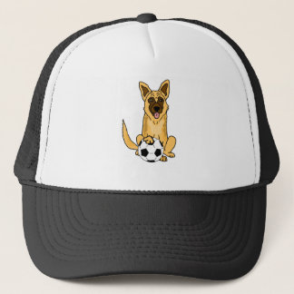 Cute Belgian Malinois Dog Playing Soccer Cartoon Trucker Hat