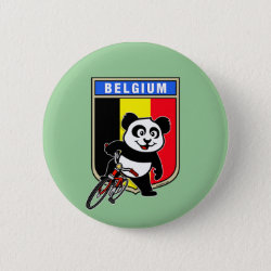 Round Button with Belgian Cycling Panda design