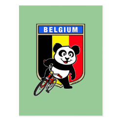 Postcard with Belgian Cycling Panda design