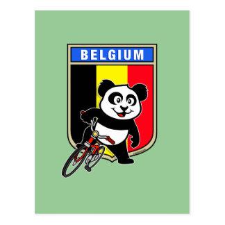 Cute Belgium Cycling Panda Postcard