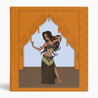 Cute Bellydancer in Brown and Gold Costume 3 Ring Binder