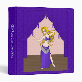 Cute Bellydancer in Indigo and Silver Costume 3 Ring Binder