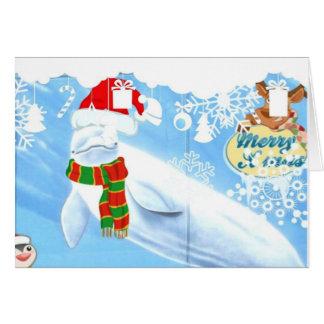 Cute Beluga Whale Christmas Greeting Card
