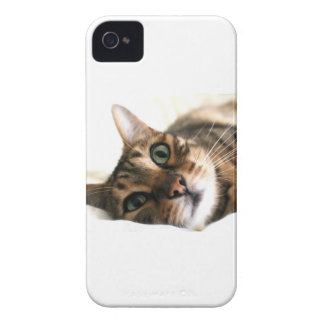 Cute Bengal Cat in Bed Picture Case-Mate iPhone 4 Cases