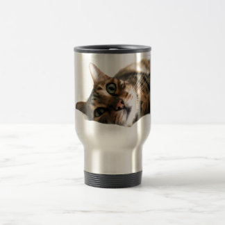 Cute Bengal Cat in Bed Picture Travel Mug