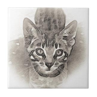 Cute Bengal Kitten Drawing Tile