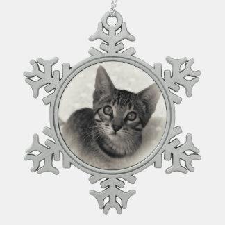Cute Bengal Kitten Snowflake Pewter Christmas Ornament