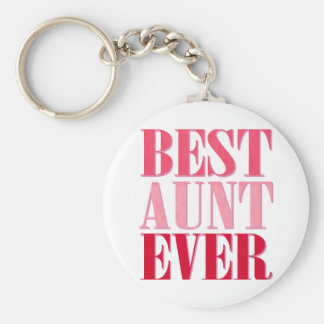 Cute Best Aunt Ever Pink Text Keychain