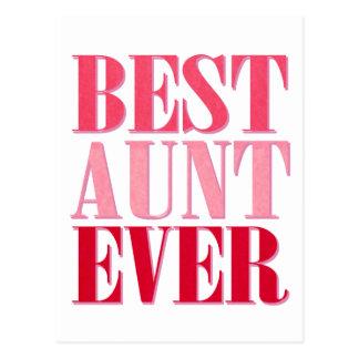 Cute Best Aunt Ever Pink Text Postcard