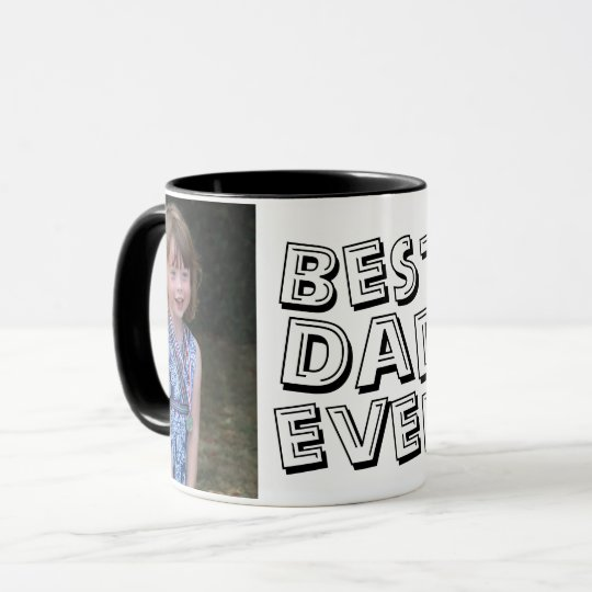 Cute Best Dad Ever Two Photo Black Father's Day Mug