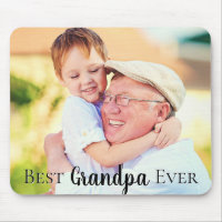 Cute Best Grandpa Pops Dad Ever Photo Mouse Pad