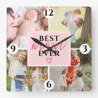 Cute best mom script 4 photo collage grid pink square wall clock