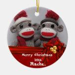 CUTE BFF Sock Monkey  ROUND Ornament 2014