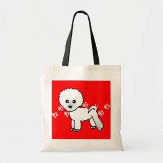 Cute Bichon Frise Cartoon Canvas Bags