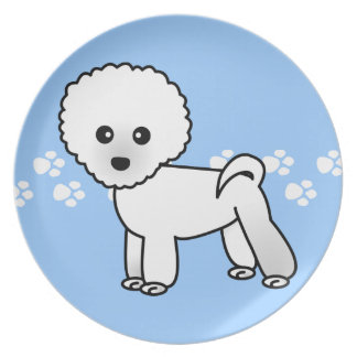 Cute Bichon Frise Cartoon on Blue with Paw Prints Dinner Plate