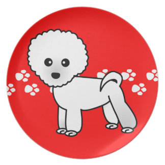Cute Bichon Frise Cartoon on Red with Paw Prints Melamine Plate