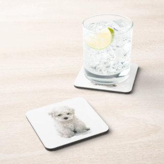 Cute Bichon Frise Cork Coasters