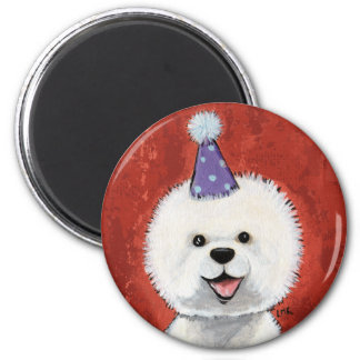 Cute Bichon Frise Party Dog Illustration 2 Inch Round Magnet