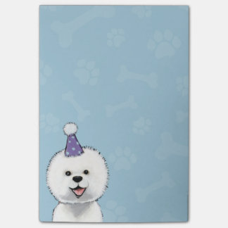 Cute Bichon Frise Wearing a Party Hat Post-it Notes