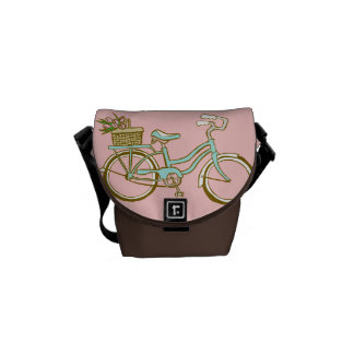 Cute Bicycle with Tulip Basket Messenger Bag