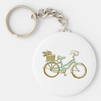 Cute Bicycle with Tulips Basic Round Button Keychain