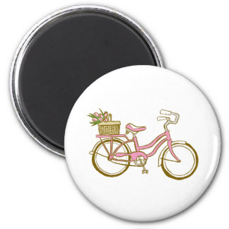Cute Bicycle with Tulips 2 Inch Round Magnet