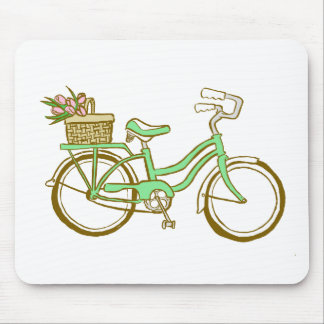 Cute Bicycle with Tulips Mouse Pad