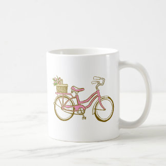 Cute Bicycle with Tulips Mugs
