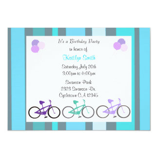 Cute Bicycles Birthday Party Invitation