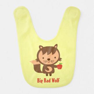 Cute Big Bad Wolf with Apple for Baby Boy Baby Bib