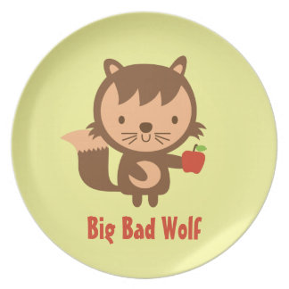 Cute Big Bad Wolf with Apple for Kids Plate