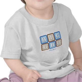 Cute Big Bro Word Block with Name T-shirts