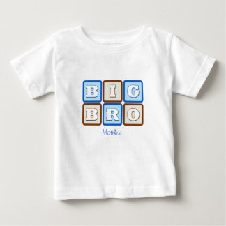 Cute Big Bro Word Block with Name T Shirt