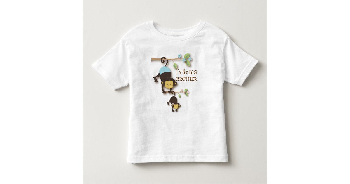 255002b23 Cute Big Brother Monkey with Lil' Baby Sis Toddler T-shirt | Zazzle.com
