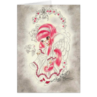 Cute Big Eye Angel With Red Hair And Holly Greeting Cards