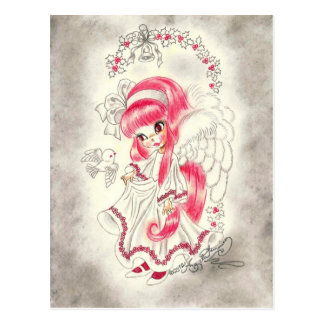 Cute Big Eye Angel With Red Hair And Holly Postcards