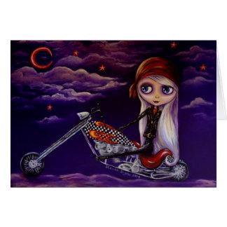 Cute Big Eye Biker Girl on Chopper Motorcycle Greeting Card