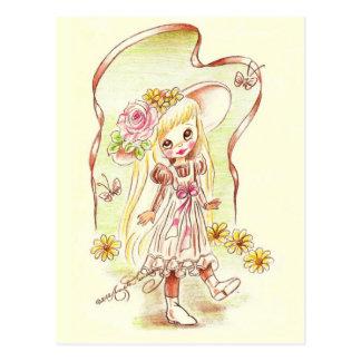 Cute Big Eye Girl Art Postcard