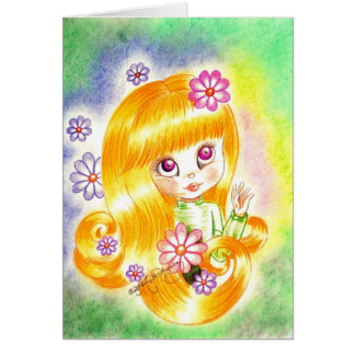 Cute Big Eye Girl with  Orange Hair and Daisies Greeting Card