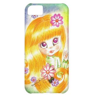 Cute Big Eye Girl with Orange Hair and Daisies iPhone 5C Case
