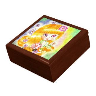 Cute Big Eye Girl with  Orange Hair and Daisies Trinket Boxes