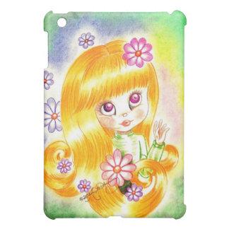 Cute Big Eye Girl with Orange Hair and Daisies iPad Mini Covers