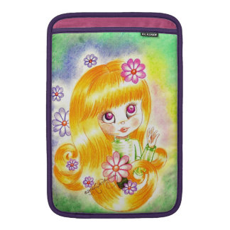 Cute Big Eye Girl with  Orange Hair and Daisies Sleeve For MacBook Air